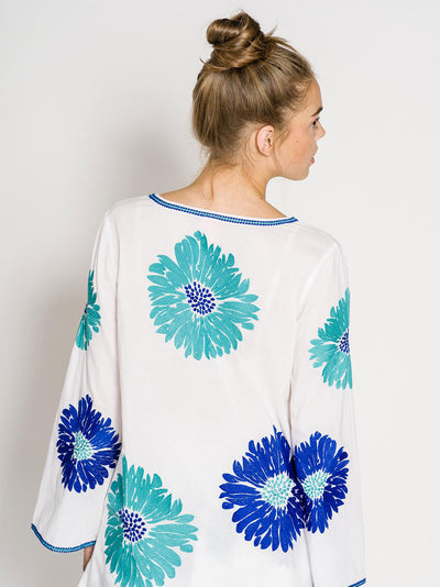 CUBA LIBRE TUNIC COTTON WHITE FLOWER TURQ./BLUE