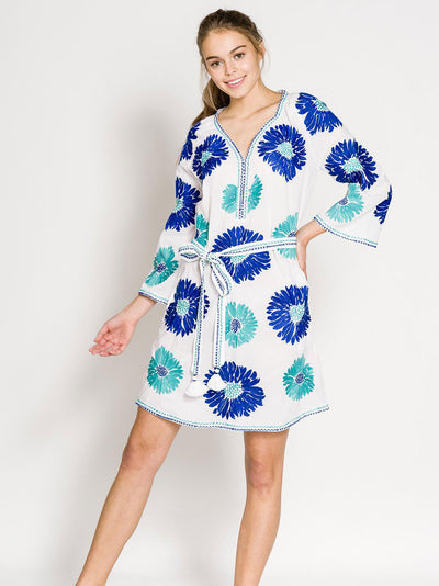 GIMLET KAFTAN SHORT COTTON WHITE FLOWER TURQ./BLUE