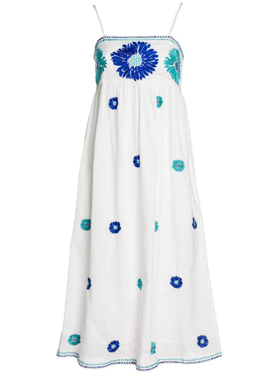 GIN BEE DRESS COTTON WHITE FLOWER TURQ./BLUE