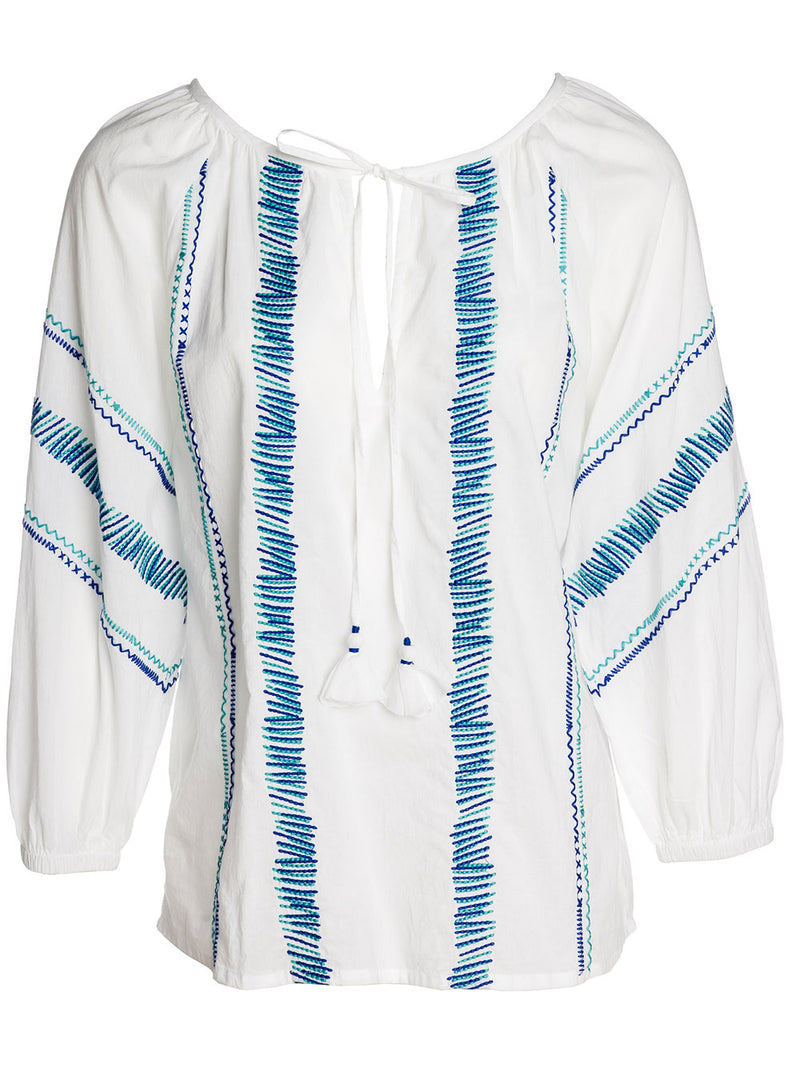 GIN FIZZ TUNIC COTTON WHITE TURQ./BLUE EMBR.