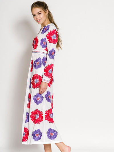 MY FAIR LADY DRESS COTTON WHITE FLOWER PURPLE/RED