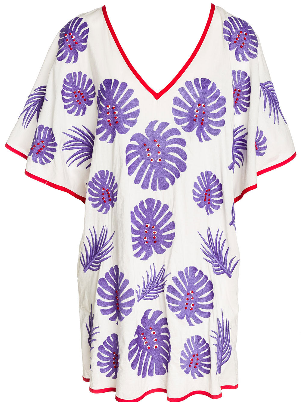 SALTY DOG KAFTAN COTTON LEAF EMBR./PURPLE