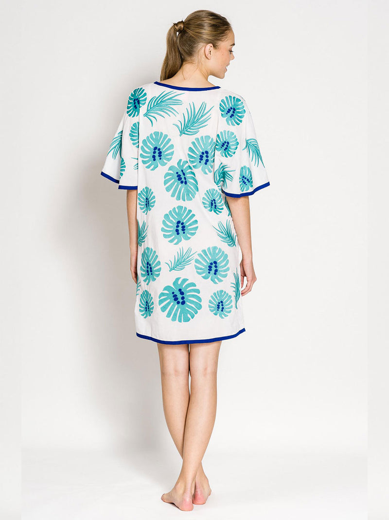 SALTY DOG KAFTAN COTTON LEAF EMBR./TURQUOISE