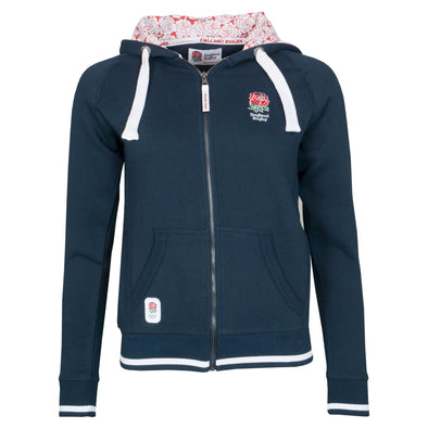 England RFU Rugby Ladies Full Zip Hoodie | Navy