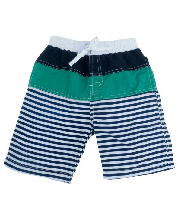 Banz Kids UV Striped Board Shorts | Navy - Green