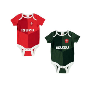 Wales WRU Rugby Baby 2 Pack Bodysuits | Red/Green | 2019/20