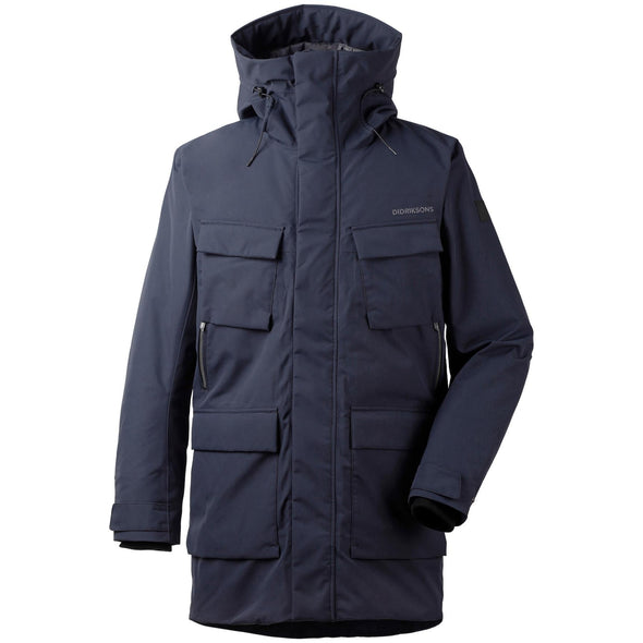 Didriksons Drew 3 Mens Padded Parka Jacket | Dark Night Blue