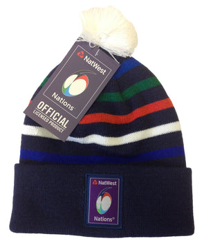 6 Nations Rugby Striped Bobble Hat - Kids