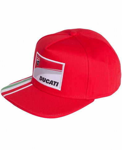 Ducati Corse Flat Peak Cap - Red Stripes - Adult