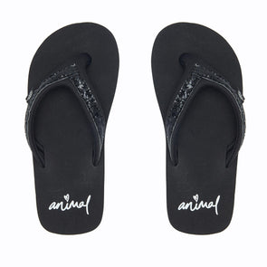 Animal Girls Swish Slim Flip Flops | Black |