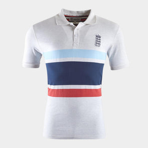 ECB England Cricket Mens Marl Stripe Polo | White Marl | 2019