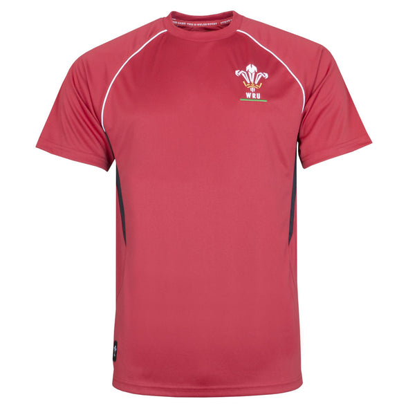 Wales WRU Rugby Mens Panel Poly T-Shirt | Red