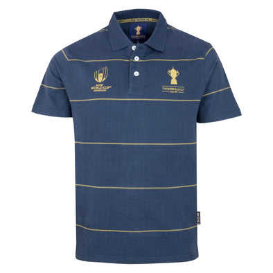 Rugby World Cup 2019 Webb Ellis Thin Stripe Trophy Polo Shirt | Navy
