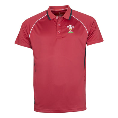 Wales WRU Rugby Mens Panel Poly Polo | Red