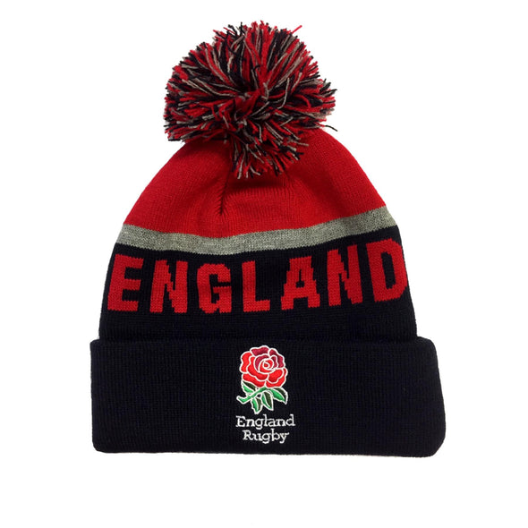 England Rugby Bobble Beanie Hat | Navy/Red | 2019/20 Season | Adult