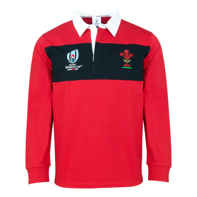 Rugby World Cup 2019 Wales Men's L/S Panel Rugby Shirt | Red/Black