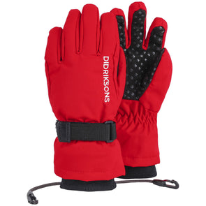 Didriksons Biggles Five Kids Waterproof Gloves | Chili Red