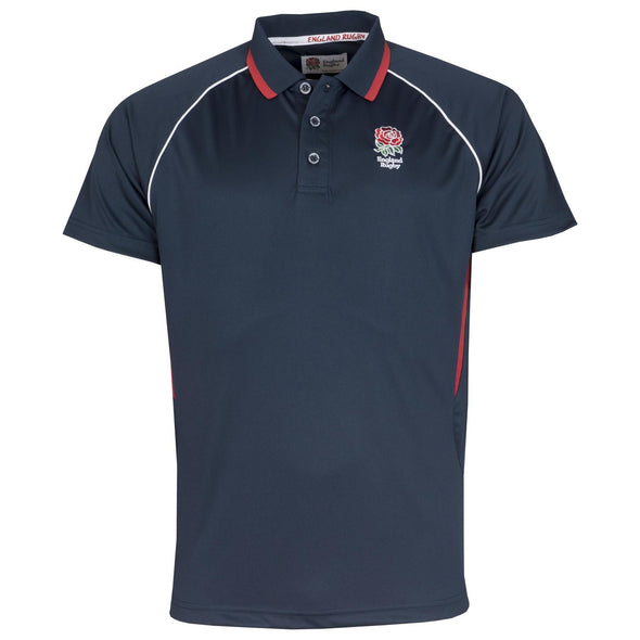 England RFU Rugby Mens Panel Poly Polo | Navy