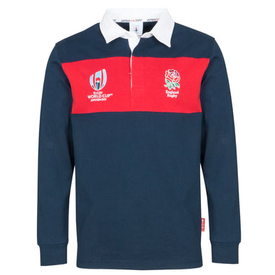 Rugby World Cup 2019 England Men's L/S Panel Rugby Shirt | Navy/Red
