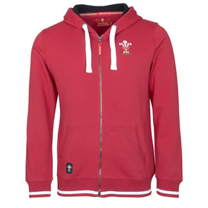 Wales WRU Rugby Mens Full Zip Hoodie | Red