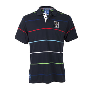 Guinness 6 Nations Rugby Mens Striped Jersey Polo | Navy | 2019