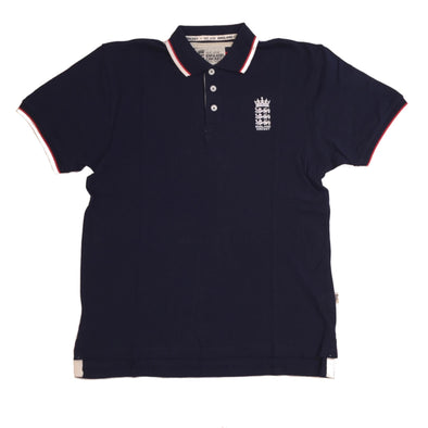 ECB England Cricket Mens Pique Polo Shirt | Navy | 2019