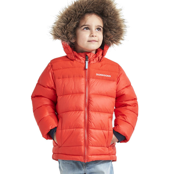 Didriksons Digory Kids Puffa Jacket | Poppy Red