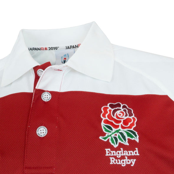 Rugby World Cup 2019 England Men's Panel Poly Polo Shirt | White/Red