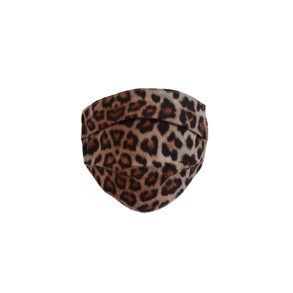 Reusable Pleated Cotton Face Mask | Leopard Print