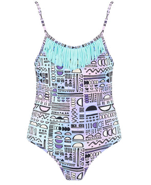 Animal Ripples Girl's Swimsuit - Purple
