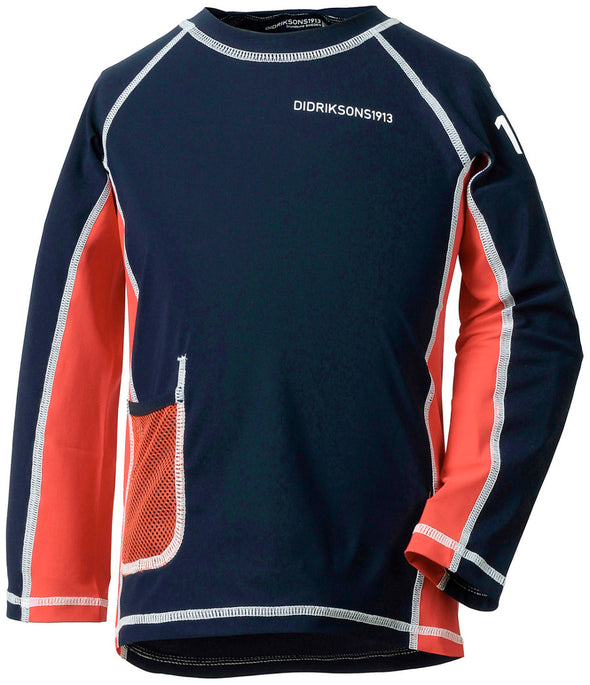 Didriksons Kids Surf Long Sleeved UPF50+ UV Rash Vest Sun Top - Navy