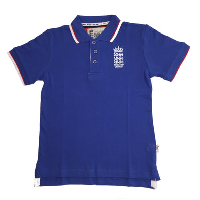 ECB England Cricket Kids Pique Polo Shirt | Blue | 2019