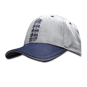 ECB England Cricket Patriotic 2 Tone Classic Baseball Cap | Navy/Grey | 2019 | Adult
