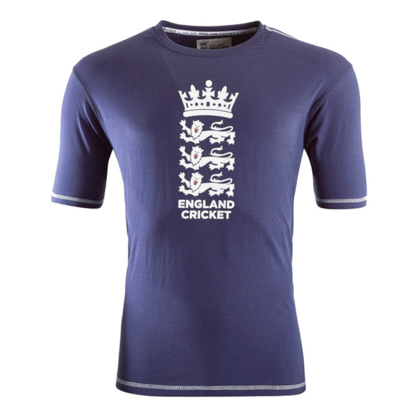 ECB England Cricket Mens Large Logo T-Shirt | Navy | 2019