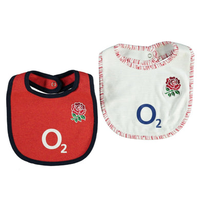 England RFU Rugby Baby 2 Pack Bibs | White/Red | 2019/20