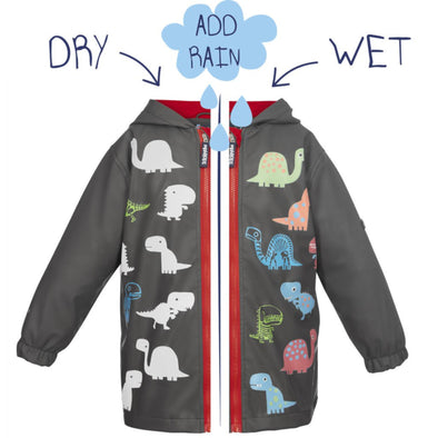 Squidkids Kids' Dino Colour Changing Waterproof Raincoat