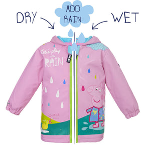 Squidkids Girls' Peppa Pig Colour Changing Waterproof Raincoat