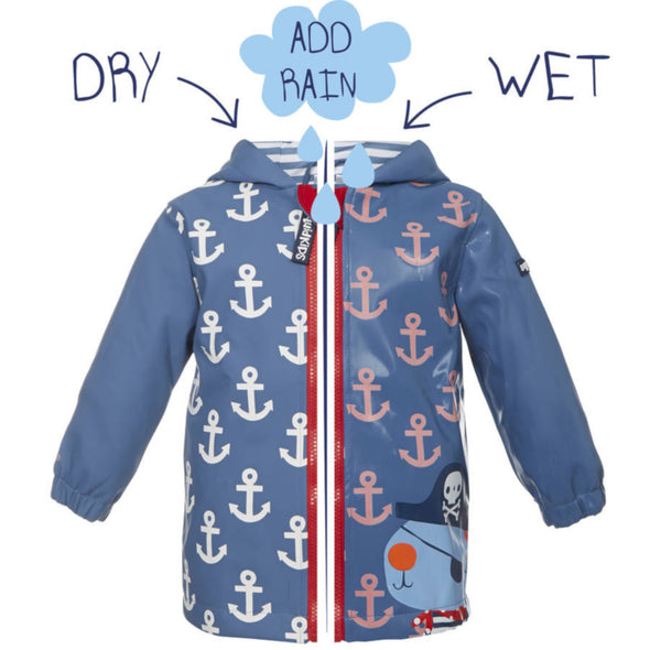 Squidkids Kids' Pirate Colour Changing Waterproof Raincoat