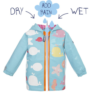 Squidkids Kids'/Girls' Starfish Colour Changing Waterproof Raincoat