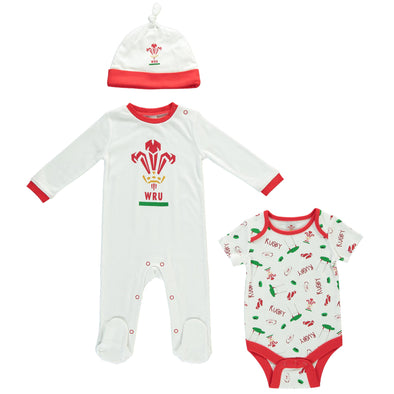 Wales WRU Rugby Baby 3 Piece Gift Set | White | 2019/20