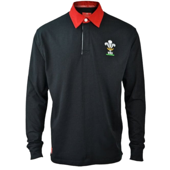 Wales WRU Rugby Kids Long Sleeved Rugby Shirt | Black