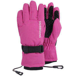 Didriksons Biggles Five Kids Waterproof Gloves | Plastic Pink