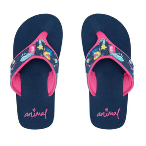 Animal Girls Swish Upper AOP Flip Flops | Indigo Blue