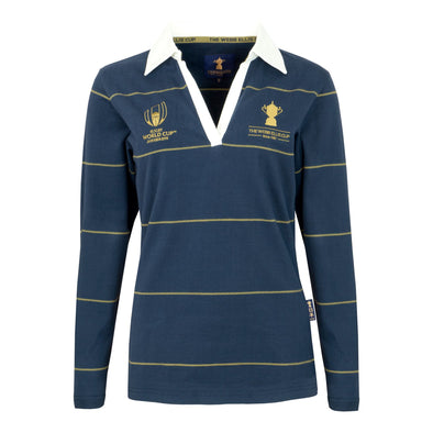 Rugby World Cup 2019 Webb Ellis Cup Ladies Thin Stripe Rugby Shirt | Navy