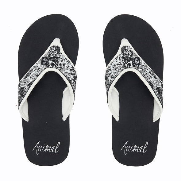 Animal Womens Swish Upper AOP Flip Flops | Black|