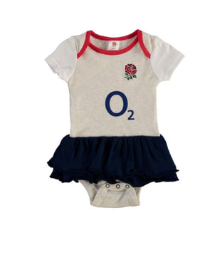 Official England RFU Baby Girls Kit Tutu Bodysuit | White Marl | 2018/19 Season