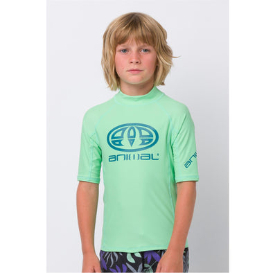 Animal Kids Hiltern Short Sleeve Rash Top | Freeze Green