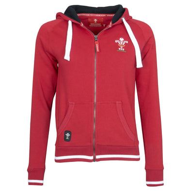 Wales WRU Rugby Ladies Full Zip Hoodie | Red