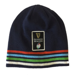 Guinness 6 Nations Rugby Stripe Pull On Beanie Hat | Navy | One Size