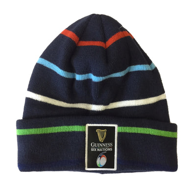 Guinness 6 Nations Rugby Stripe Cuff Beanie Hat | Navy | One Size